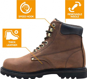 Tank Men's Soft Toe Oil Full Grain Leather Insulated Work Boots Construction Rubber Sole